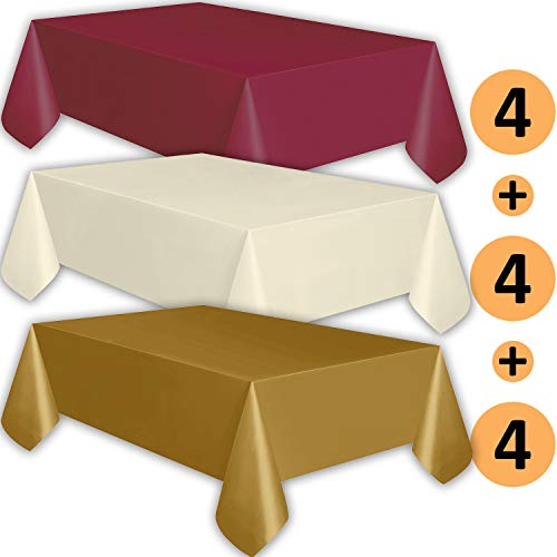12 Plastic Tablecloths - Burgundy, Ivory, Gold - Premium Thickness Disposable Table Cover, 108 x 54 Inch, 4 Each Color]()