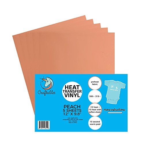 Craftables Peach Heat Transfer Vinyl HTV - 5 Sheets Easy to Weed Tshirt Iron on Vinyl for Silhouette Cameo, Cricut, All Craft Cutters. Ships Flat