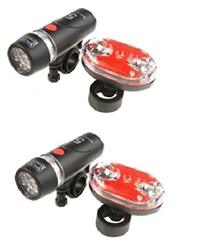 2 SETS Bright Bike Bicycle Lights Waterproof 5 LED Head Light + 9 LED Rear - Table Omega Lamp