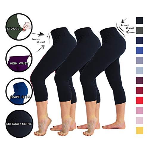 3968ab8852bbe TNNZEET High Waisted Leggings for Women Plus Size Capri Tummy Control  Workout Legging - Ultra Soft