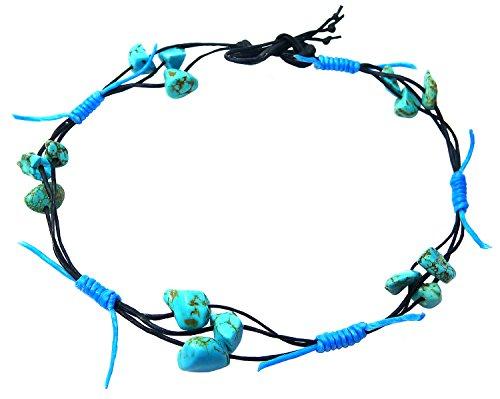 Bijoux De Ja Handmade Synthetic Turquoise Chips Anklet Bracelet Free Size