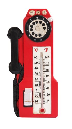 7 Inch Red Old Style Telephone Wall Thermometer Statue Figurine