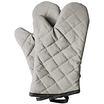 ARCLIBER Oven Mitts 1 Pair of Quilted Cotton Lining - Heat Resistant Kitchen Gloves,Flame Oven Mitt Set,Grey