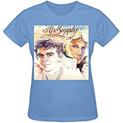 Abover Air Supply Greatest Hits Tour T Shirts For Women 2016 O-Neck Blue