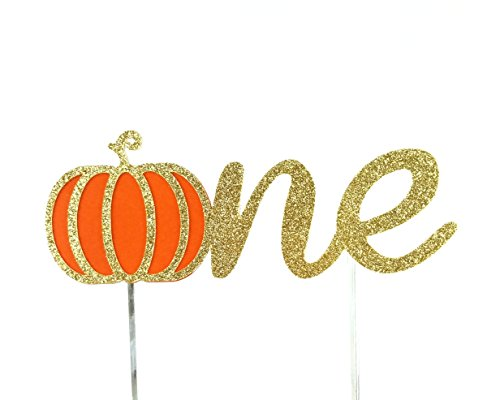 CMS Design Studio Handmade 1st First Birthday Cake Topper Decoration - one with Pumpkin - Made in USA with Double Sided Gold Glitter -