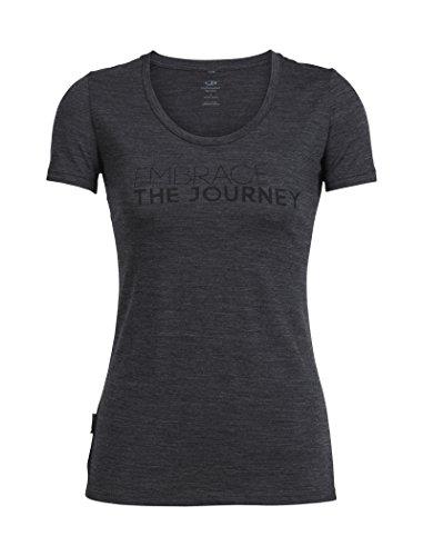 Icebreaker Merino Women's Tech Lite Short Sleeve Scoop Tee Embrace The Journey Graphic, Jet Heather, Large