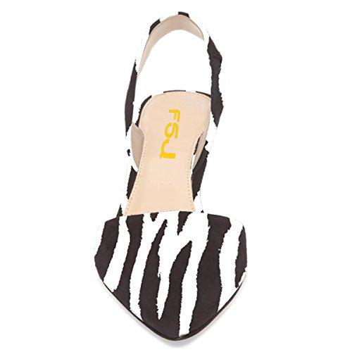 Donne Fsj Tacchi Bassi Gonnellino Vestito Pompe Sandali A Punta Slingback Comfort Scarpe Taglia 4-15 Us Linee