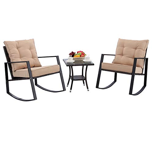HTTH 3 Pieces Outdoor Rocking Chair Bistro Set Steel Furniture with Glass Coffee Table Thickened Cushion Wicker Rattan Set Lawn Garden Backyard Balcony Furniture