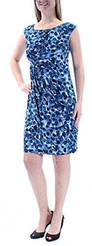 Connected Women's Petite Dot-Print Faux-Wrap Dress (8P, Dark Blue)