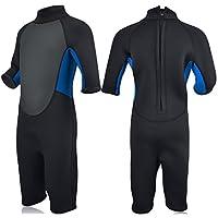 Realon Kids Wetsuit Shorty Full 3mm Premium Neoprene Lycra Swimsuit Toddler Baby Children and Girls Boys Youth Swim Surfing Snorkel Dive Snorkel XSPAN Back Zip Suit