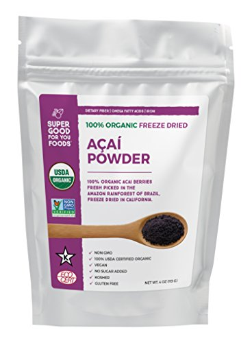 Super Good For You Foods Organic Freeze Dried Acai Berry Powder, Gluten-Free, Non-GMO + Vegan, 4 Ounce Bag