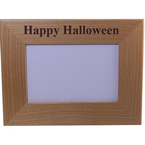 Personalized Add Your Year Custom Happy Halloween Alder Wood Picture Frame Customizable ()