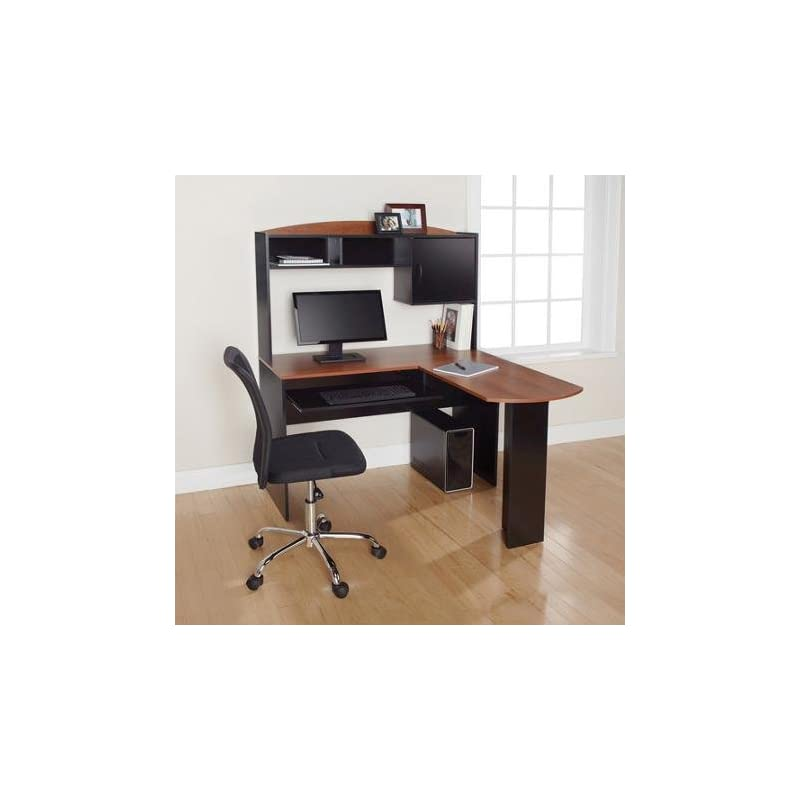Corner L Shaped Office Desk with Hutch (