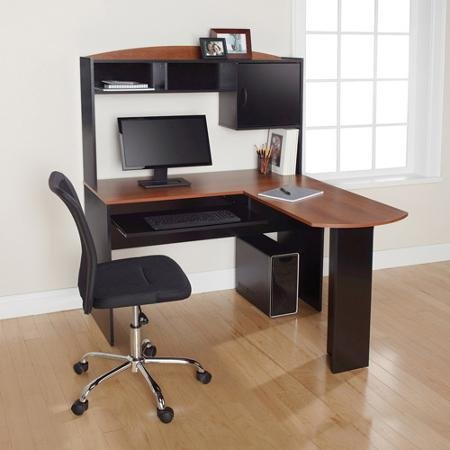 Corner L Shaped Office Desk with Hutch (Black and Cherry) - Hutch Plus Storage
