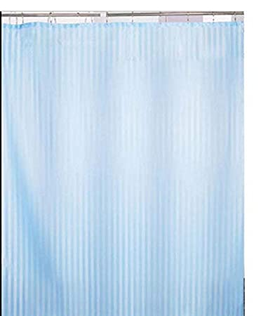 Yellow Weaves� PVC Blue Self Stripes Plain Shower Curtain 54X84 Inches- 8 Hooks