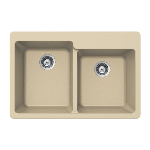 Houzer M-175 SAND Quartztone Series Granite Top Mount 60/40 Double Bowl Kitchen Sink, Biscuit ()