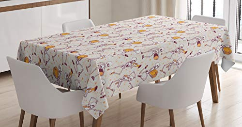 Ambesonne Skeleton Tablecloth, Halloween Themed Dancing and Playing Music with Pumpkins, Rectangular Table Cover for Dining Room Kitchen Decor, 60