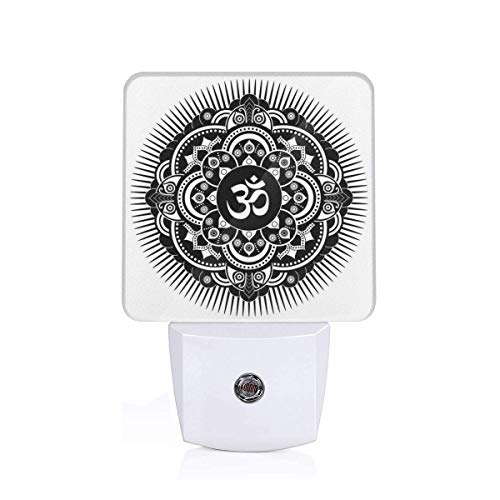 Colorful Plug in Night,Monochrome Henna Tattoo Art Style Mandala Round Mehndi Ethnic Harmony Symbol,Auto Sensor LED Dusk to Dawn Night Light Plug in Indoor for Childs Adults
