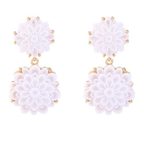 Miss Kiss Stereo Carving White Resin Flower Earrings for Women Christmas Gift