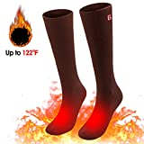 Spring Heated Socks,3.7V 2200MAH Electric Rechargeable Battery Heating Socks for Men Women Warm Cotton Socks Foot Warmer Hot Feet (Brown)