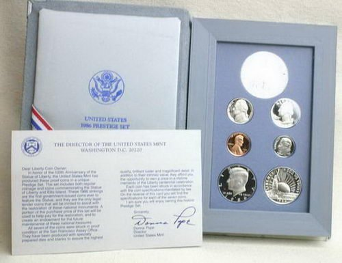 1986 Us Mint Prestige Proof Unc Coin Set W/Coa