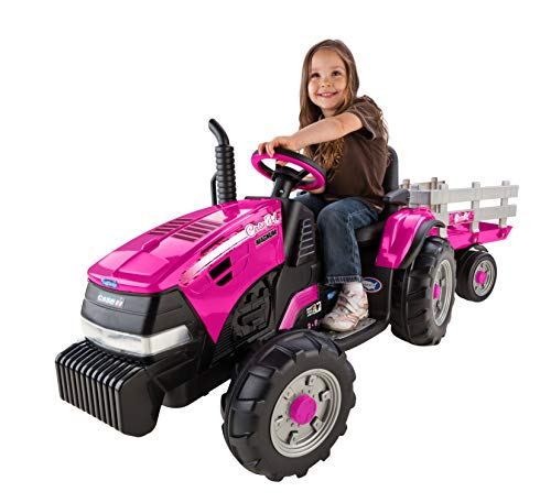 John Force Race - Peg Perego Case IH Magnum Tractor Ride On with Trailer, Pink