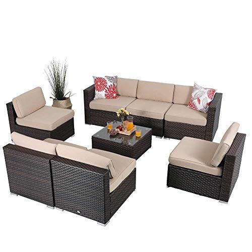 PHI VILLA Outdoor Sectional Furniture- All Weather Patio Rattan Sofa Set (8-Piece, Beige)
