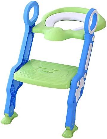 Reductor WC niños Aseo Asiento con Escalera, Orinales para niños, 2 Escalones y Agarraderas Grandes, Asiento de Entrenamiento de Inodoro Ajustable y Plegable, Azul + Verde: Amazon.es: Bebé
