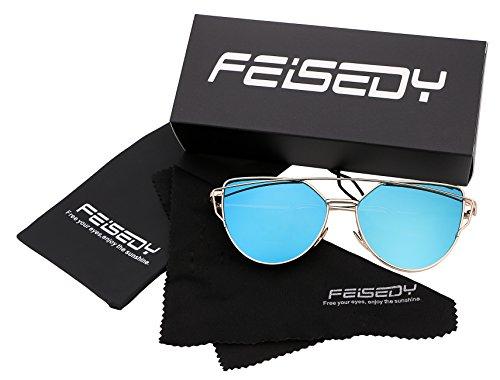 de Sol Gato Espejo Moda Blue de Marco Mujeres Metal de FEISEDY Ojo Lentes de B2206 Gold con Planas Gafas wZSWB