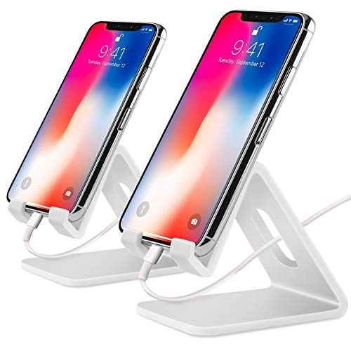 (COOLOO Cell Phone Stand,【2 Pack】 Tablets Stand Desktop Cradle Holder Dock for Smartphone E-Reader, Compatible Phone Xs Max X 8 7 6 6s Plus 5 5s, Galaxy, Charging, Universal Accessories Desk (White))