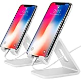 Cell Phone Stand,【2 Pack】 Tablets Stand Desktop Cradle Holder Dock for Smartphone E-Reader, Compatible iPhone X 8 7 6 6s Plus Se 5 5s 5c, Galaxy Google, Charging, Universal Accessories Desk (White)