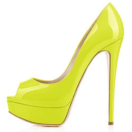 Onlymaker Women's Sexy High Heels Peep Toe Slip On Platform Pumps Stiletto Dress Party Wedding Shoes Fluorescence Green US 7 ()