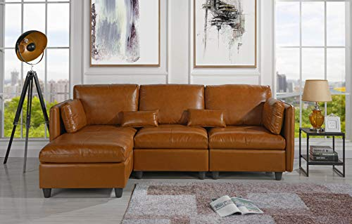 Amazon.com: L-Shape Living Room Leather Match Sectional Sofa ...