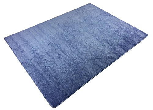 Euro Collection Solid Color Area Rug Rugs Slip Skid Resistant Rubber Backing Machine Washable More Color Options (Blue, 3'3