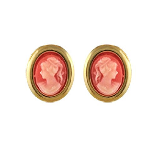 (So Chic Jewels - 18k Gold Plated Oval Pink Cameo Stud Earrings)