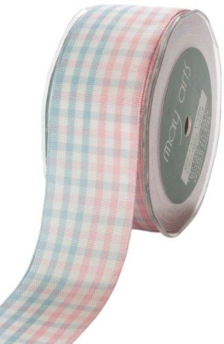 May Arts 1-1/2-Inch Wide Ribbon, Pink and Blue Check