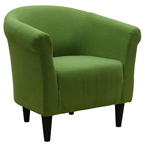 Cheap Upholstered Armchair – Accent Barrel Back Chair – Arm Chair for Living Room or Reception – Microfiber Upholstered – Club Seat (Fern Green)