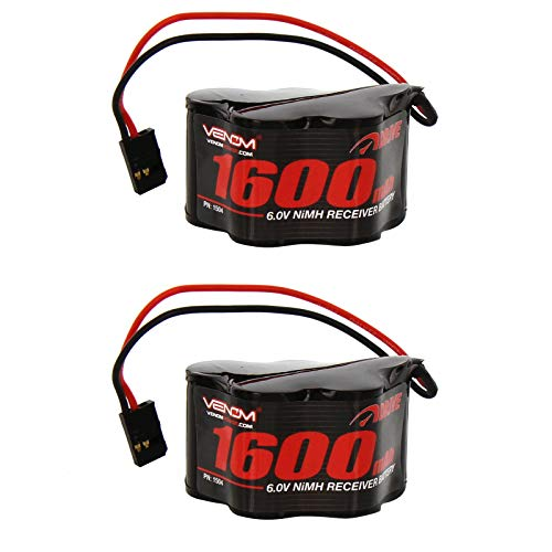 Nimh Hump Battery - Venom 6v 1600mAh 5-Cell Hump Receiver NiMH Battery x2 Packs
