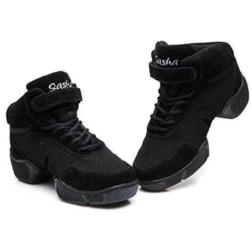 Hroyl Womens Boost Dance Sneaker Sneaker Jazz In Pelle E Mesh Ti Permettono Di Ballare Il Modello-b57 Black-b