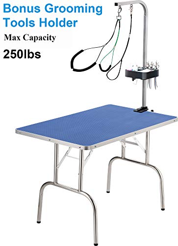 QAQA 32' Professional Foldable Pet Dog Grooming Table with Adjustable Arm,Updated Noose &No-Sit Haunch Holder,Grooming Tools Holder,Maximum Capacity Up to 250lbs