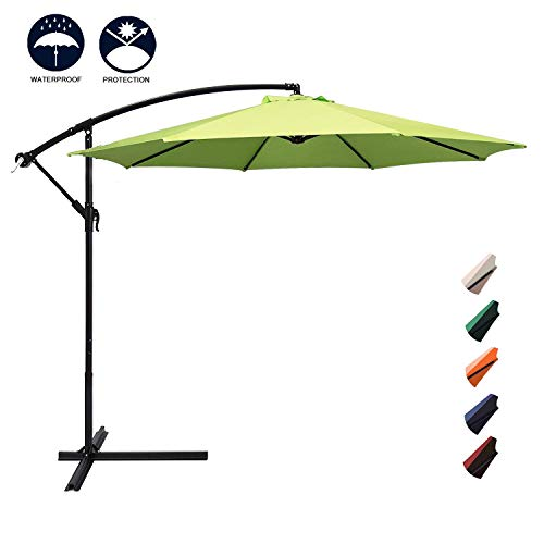 Aoxun 10ft Patio Offset Cantilever Umbrella - Market Umbrellas Outdoor Umbrella with Crank & Cross Base for Garden, Deck,Backyard and Pool (Apple Green) (Umbrella Crank Patio)
