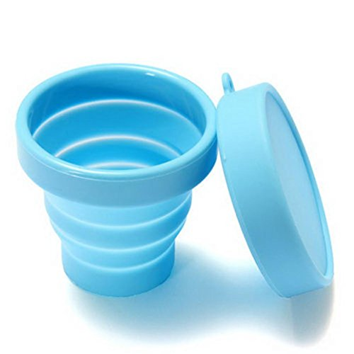 Creazy Portable Silicone Telescopic Drinking Collapsible Folding Cup Travel Camping (Sky Blue)