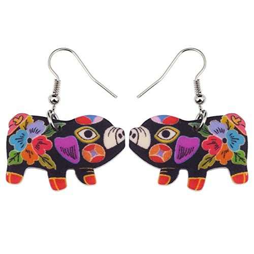 Acrylic Cartoon Drop Dangle Anime Piggy Pig Earrings Farm Style Fashion Jewelry For Girls Women Kid Gift -