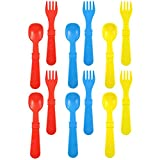 utensil made in usa - Re-Play Made in the USA 12pk Utensils for Easy Baby,Toddler, Child Feeding - Red, Yellow, Sky Blue (Primary)