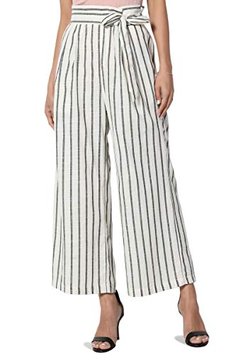 - TheMogan Women's Stripe Tie High Waist Woven Culottes Wide Leg Crop Pants Ivory S