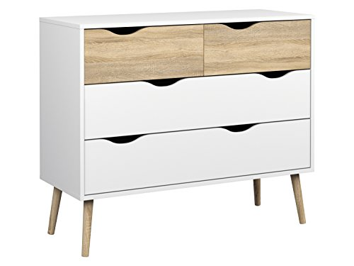 Tvilum Diana 4 Drawer Chest, White/Oak Structure (Hemnes Chest Of Drawers)