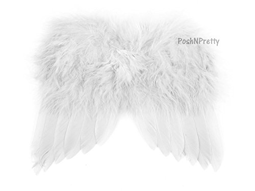 Natural Feather Angel Butterfly Wings, Newborn, Baby, Photo prop CHOOSE Colors or WHITE + Bonus PoshNPretty Clip
