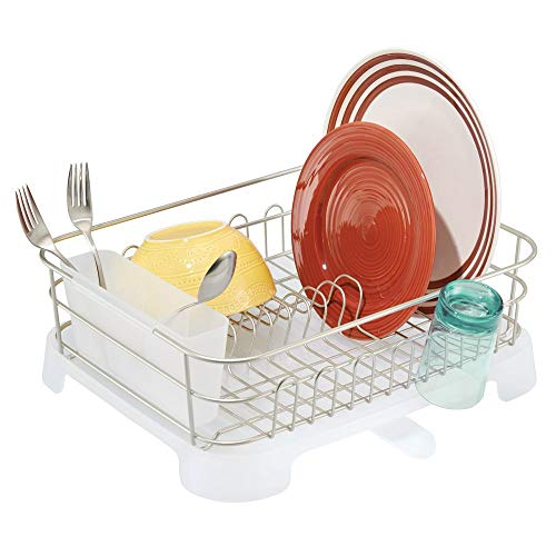Large Kitchen Countertop, Sink Dish Drying Rack with Removable Cutlery Tray and Drainboard with Adjustable Swivel Spout - 3 Pieces, Satin Wire/Clear Frost Plastic Cutlery Caddy & Drainboard