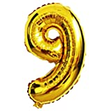 Gaosaili 40 Inches Number 9 Aluminum Film Balloon for Wedding Home Decoration Celebration Birthday Party Gold
