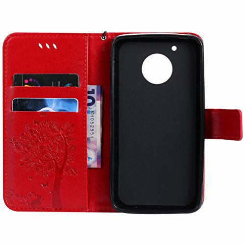 Yiizy Motorola Moto G5 Custodia Cover, Alberi Disegno Design Premium PU Leather Slim Flip Wallet Cover Bumper Protective Shell Pouch with Media Kickstand Card Slots (Rosso)